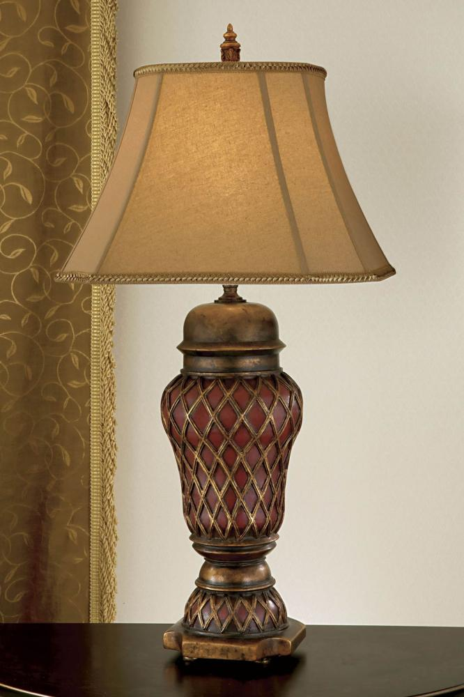 One Light Aged Gold Leaf Dark Tan Linen/ivory Soft Lined Shade Table Lamp