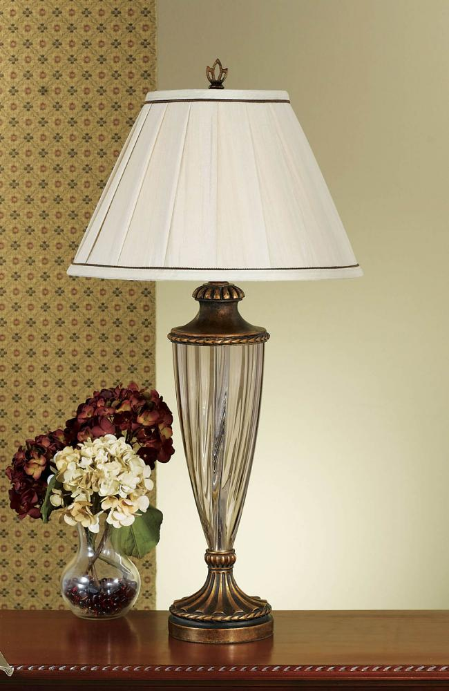 One Light Firenze Gold Round Beige Shantung/double Ivory Soft Lined Shade Table Lamp