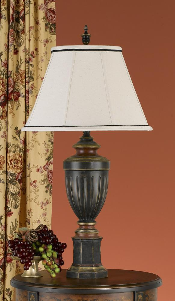 One Light Rubbed Wood Natural Linen/ivory Soft Lined Shade Table Lamp