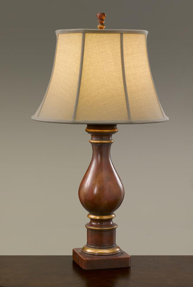 One Light Modeled Red Round Cream Color Linen/ivory Double Soft Lined Shade Table Lamp