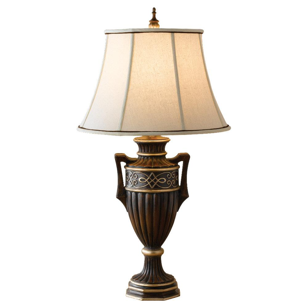 One Light Cream Color Linen �fabric Shade Tudor Brown Table Lamp