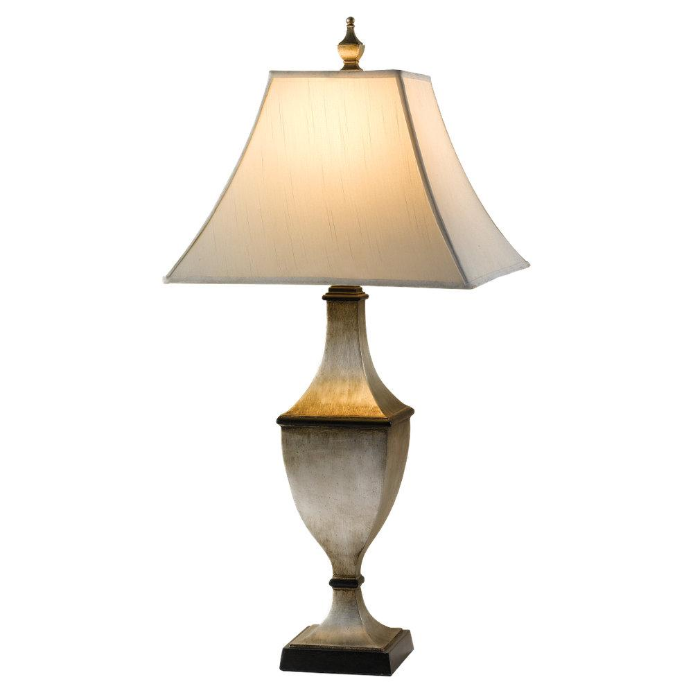 One Light Eggshell Shantung�fabric Shade Ebonized Silver Leaf Table Lamp