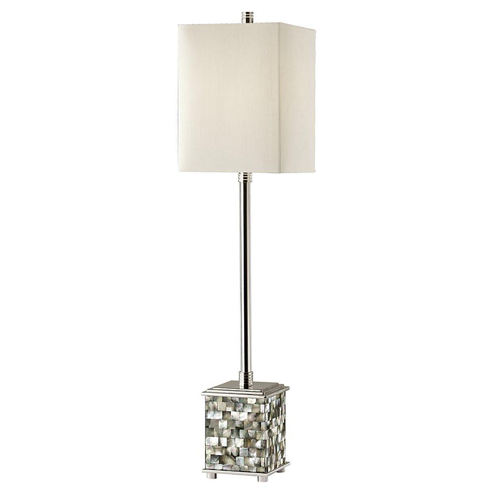 One Light Off White�linen On Hardback Shade Polished Nickel/black Pearl Shell Table Lamp