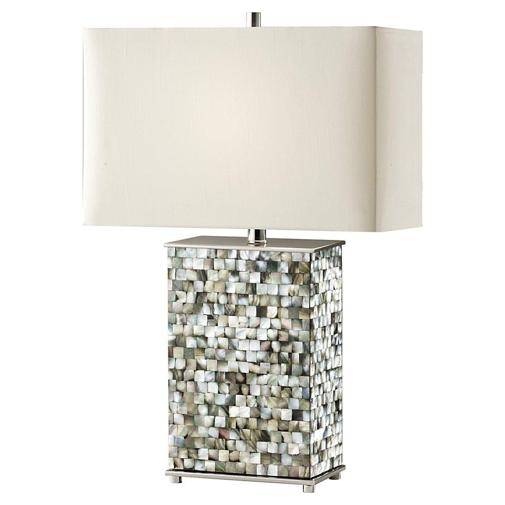 One Light Off White�linen Shade Polished Nickel/black Pearl Shell Table Lamp