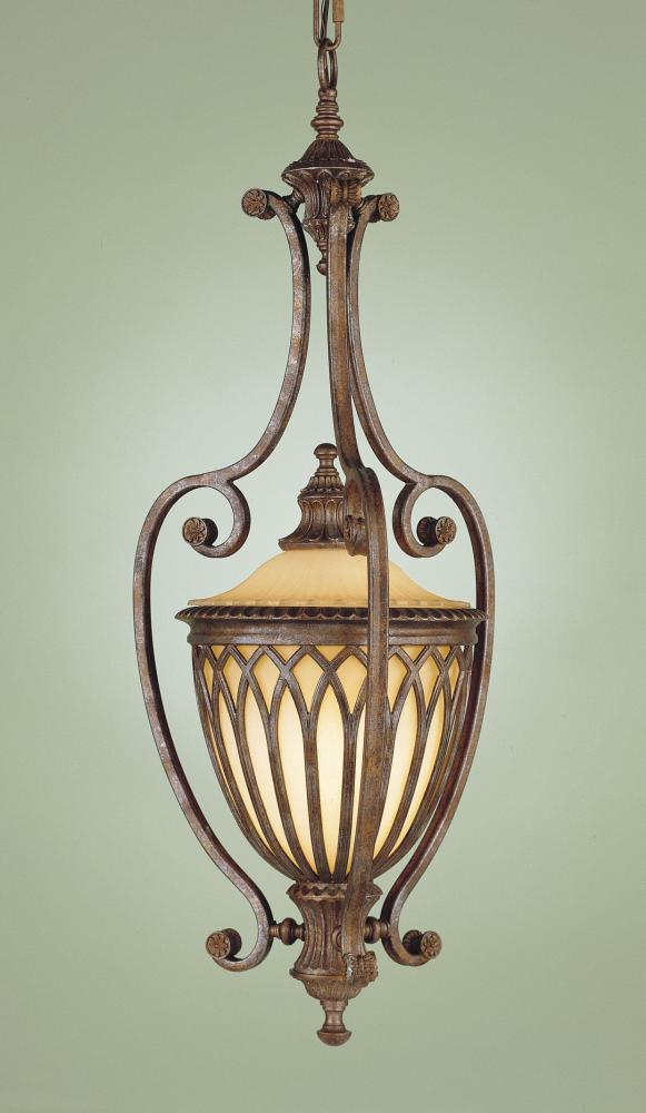 One Light British Bronze Antique Excavation Glass Framed Glass Foyer Hall Fixture