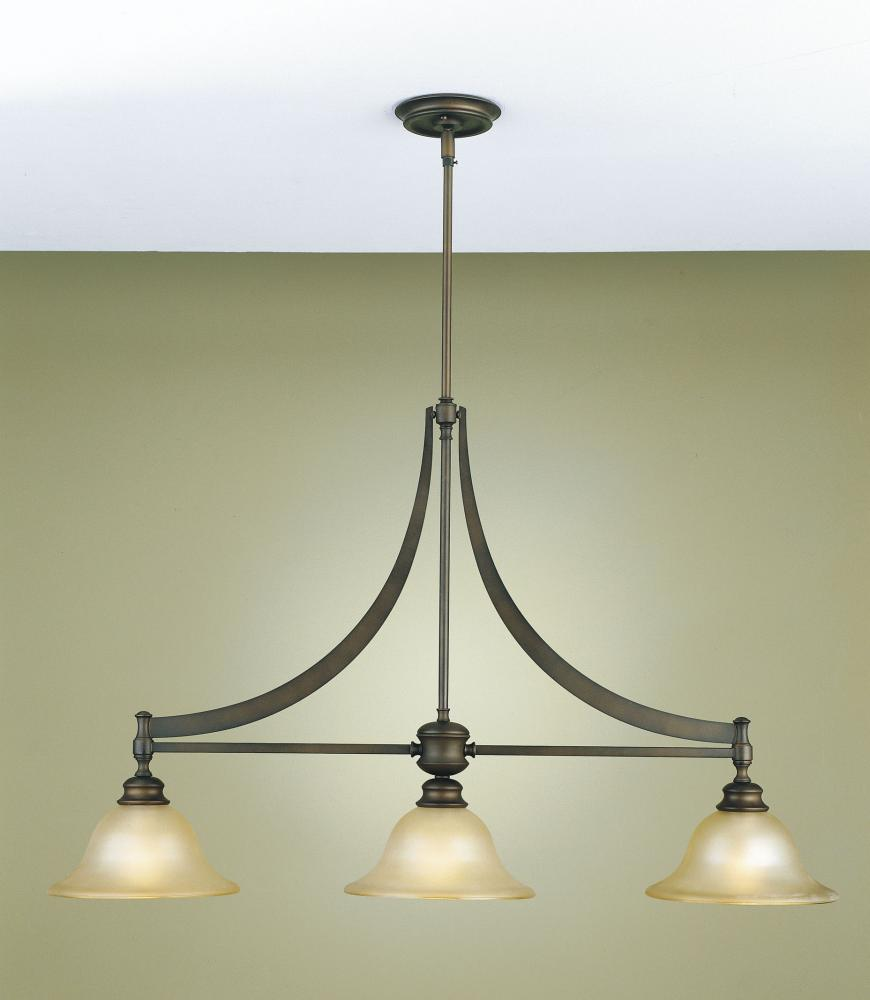 Three Light Oil Rubbed Bronze Frost Amber Glass Island Light