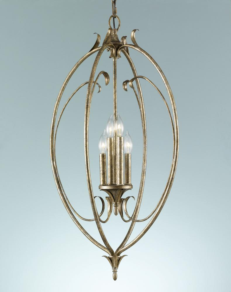 Four Light Gilded Imperial Silver Open Frame Foyer Hall Fixture