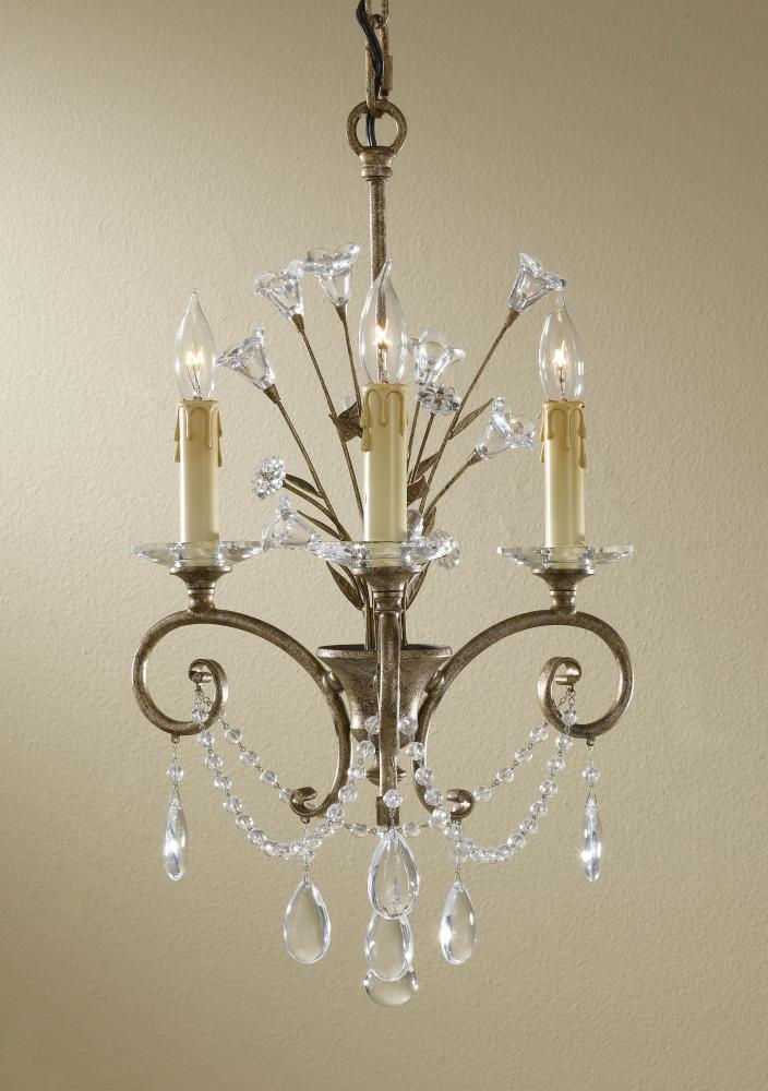 Three Light Gilded Imperial Silver Up Mini Chandelier