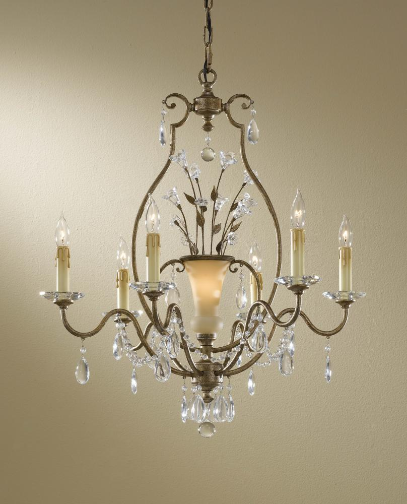 Seven Light Gilded Imperial Silver French Ivory Hand Blown Glass Up Chandelier