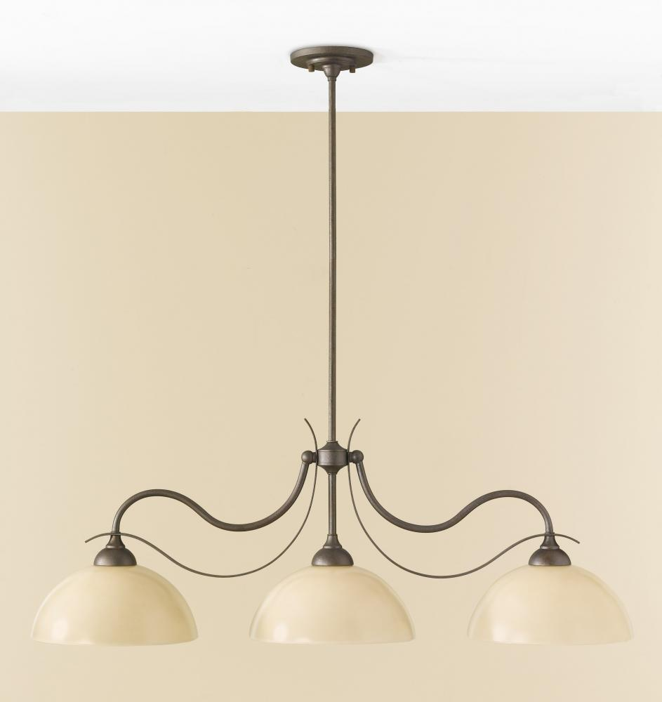 Granite City Electric in Plymouth, Massachusetts, United States, Feiss F2428/3CB, Three Light Corinthian Bronze Shiny Cream Glass Island Light, Kinsey