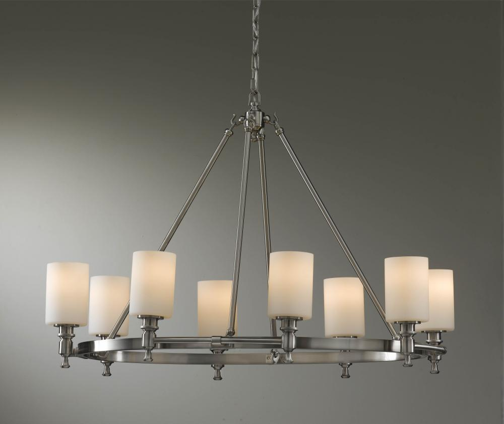 Eight Light Brushed Steel White Opal Glass Candle Chandelier