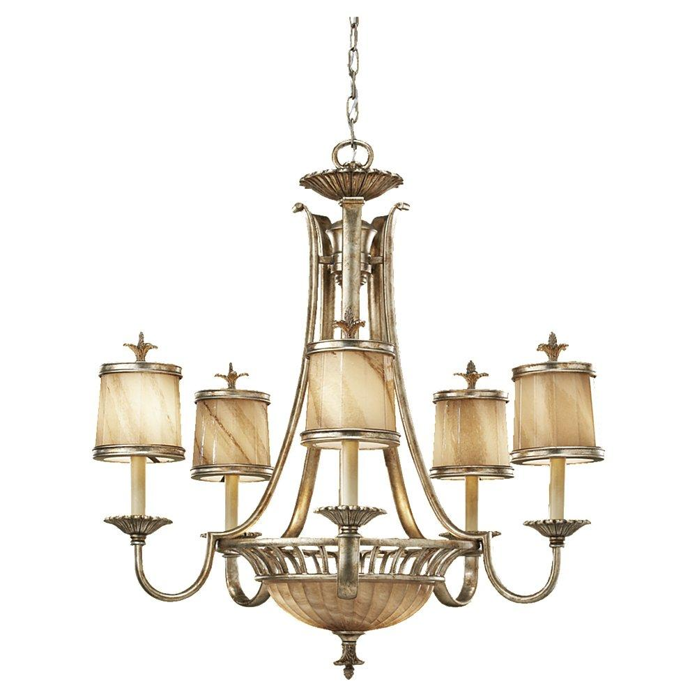 Seven Light Oxidized Silver Leaf Cafe Aulait Glass Up Chandelier