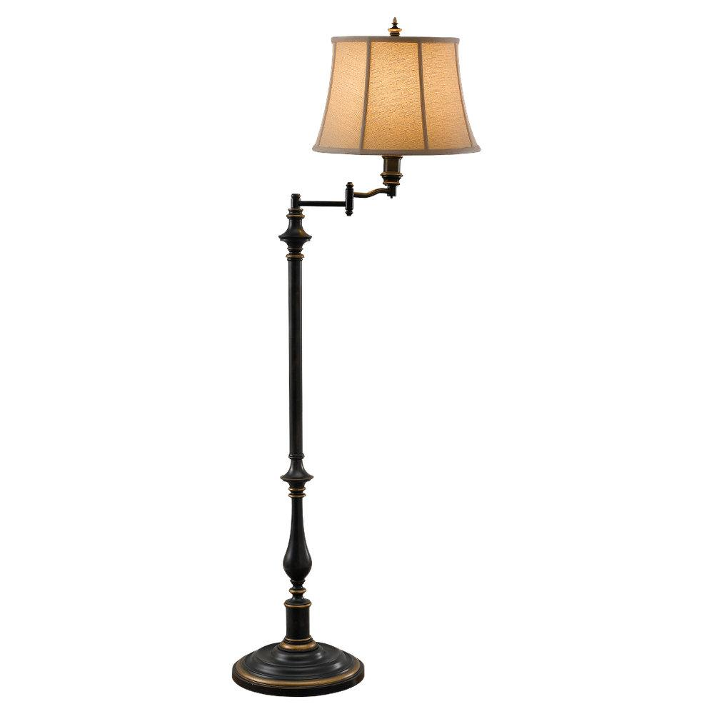 Granite City Electric in Plymouth, Massachusetts, United States, Feiss FL6237ANB, One Light Antique Brown Round Natural Textured Linen/ivory Soft Lined Shade Floor Lamp, Maddalyn