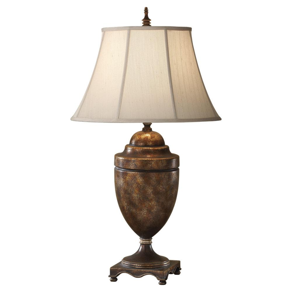 One Light Desert Linen�fabric Shade Cambridge Crackle Table Lamp