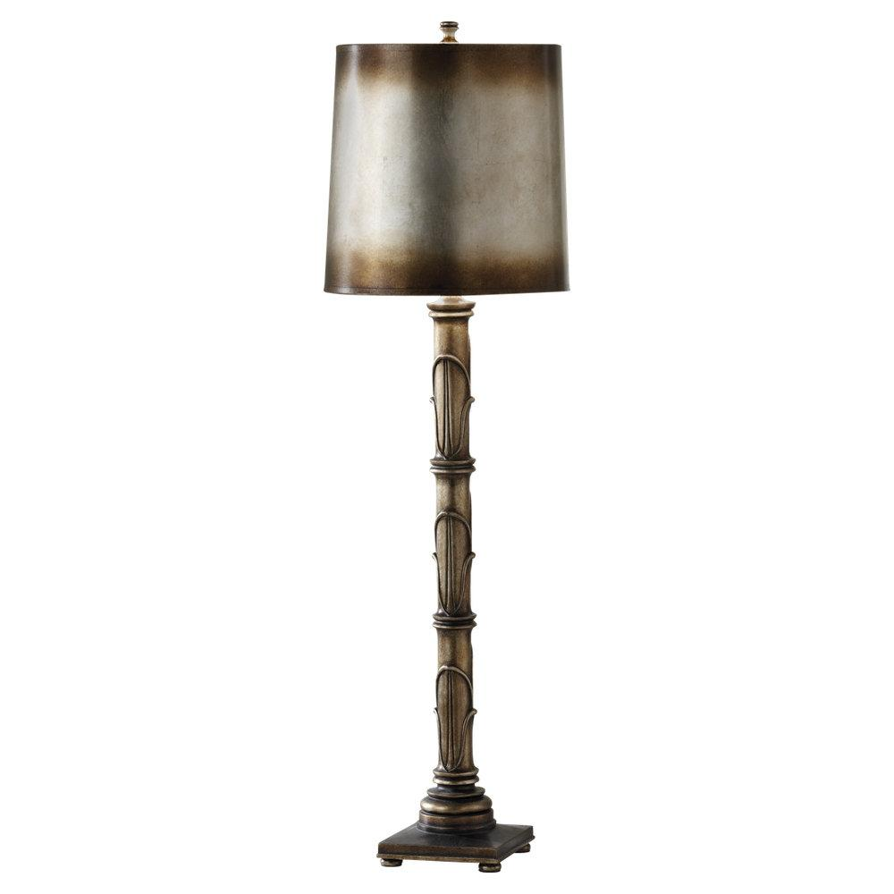 One Light Antique Silver Leaf Antiqued Silver Leaf Fabric Shade Table Lamp