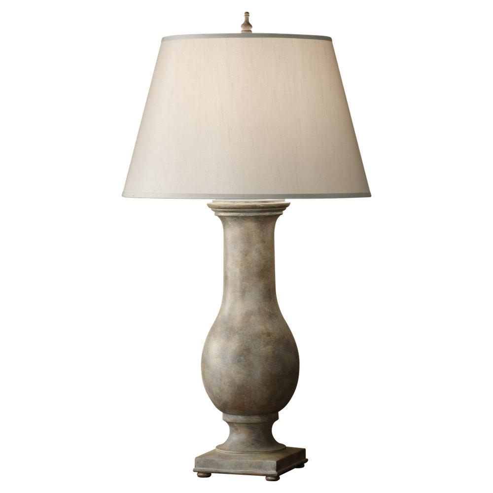 One Light Smoke Grey Taffeta�fabric Shade Weathered Gray Table Lamp