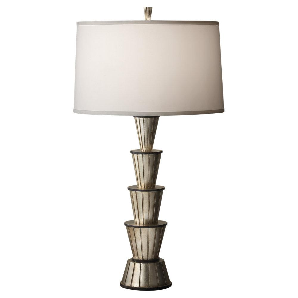 Granite City Electric in Plymouth, Massachusetts, United States, Feiss 9954ESL/BK, One Light Ebonized Silver Leaf/black Pearl White Taffeta�fabric Shade Table Lamp, Skyler