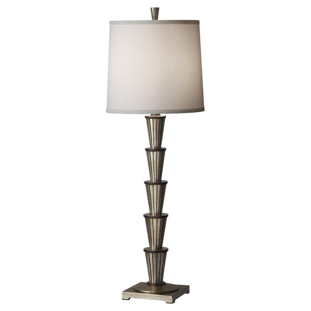 One Light Ebonized Silver Leaf/black Pearl White Taffeta�fabric Shade Table Lamp