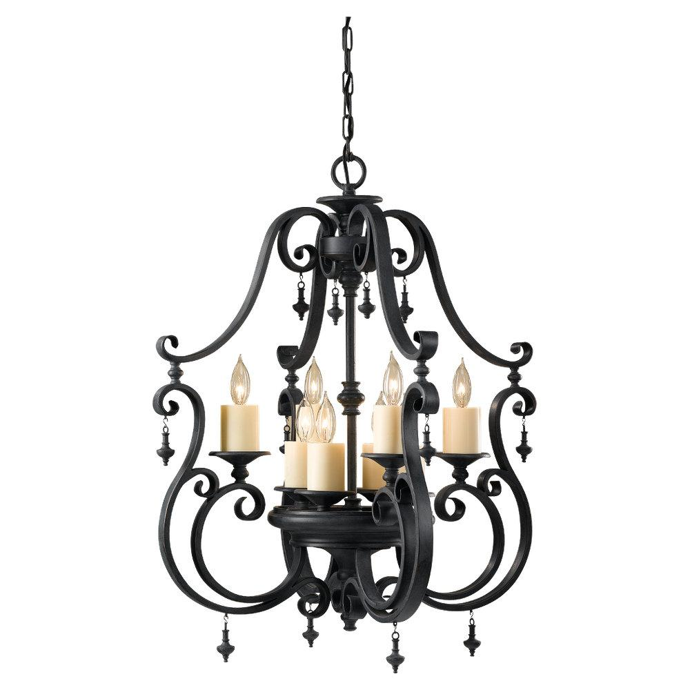 Granite City Electric in Plymouth, Massachusetts, United States, Feiss F2516/4+4AF, Eight Light Antique Forged Iron Open Frame Foyer Hall Fixture, King's Table