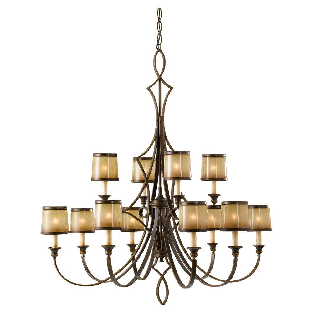 Twelve Light Astral Bronze Aged Oak Glass Up Chandelier