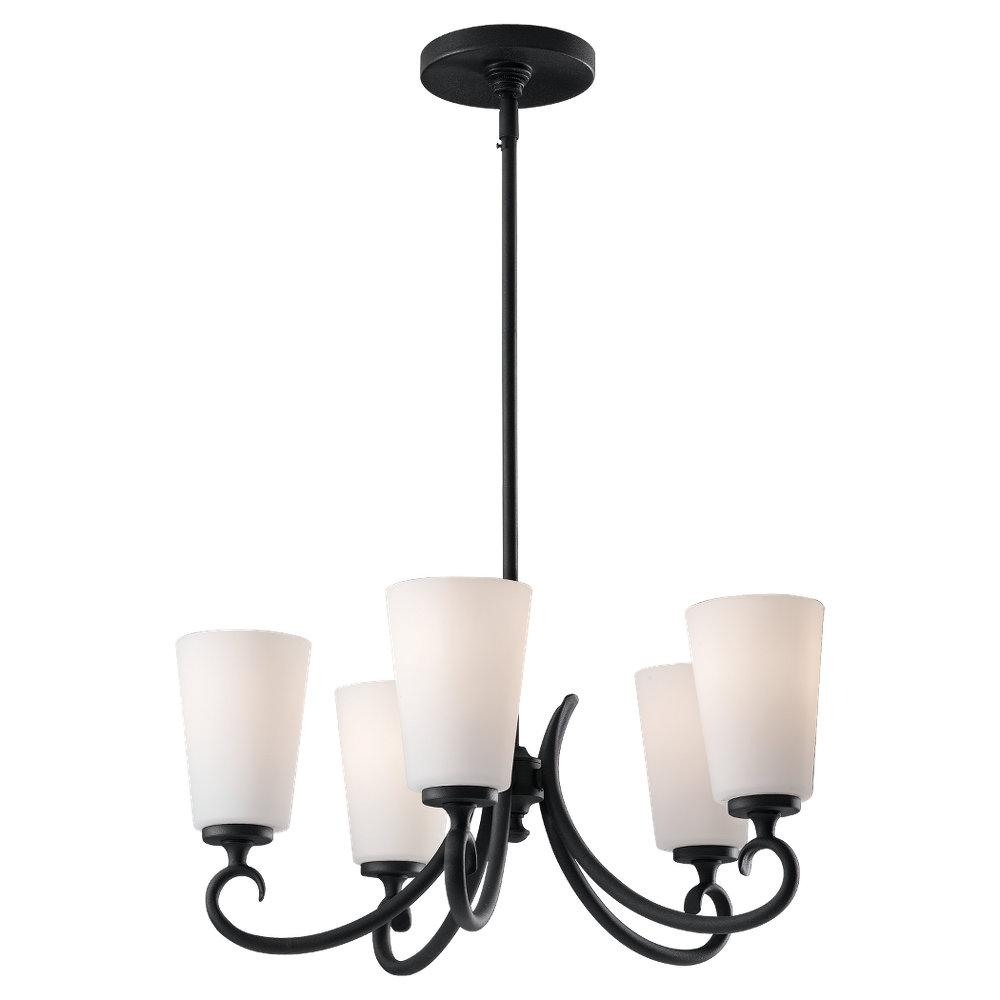 Granite City Electric in Plymouth, Massachusetts, United States, Feiss F2535/5BK, Five Light Black White Opal Etch Glass Up Chandelier, Peyton