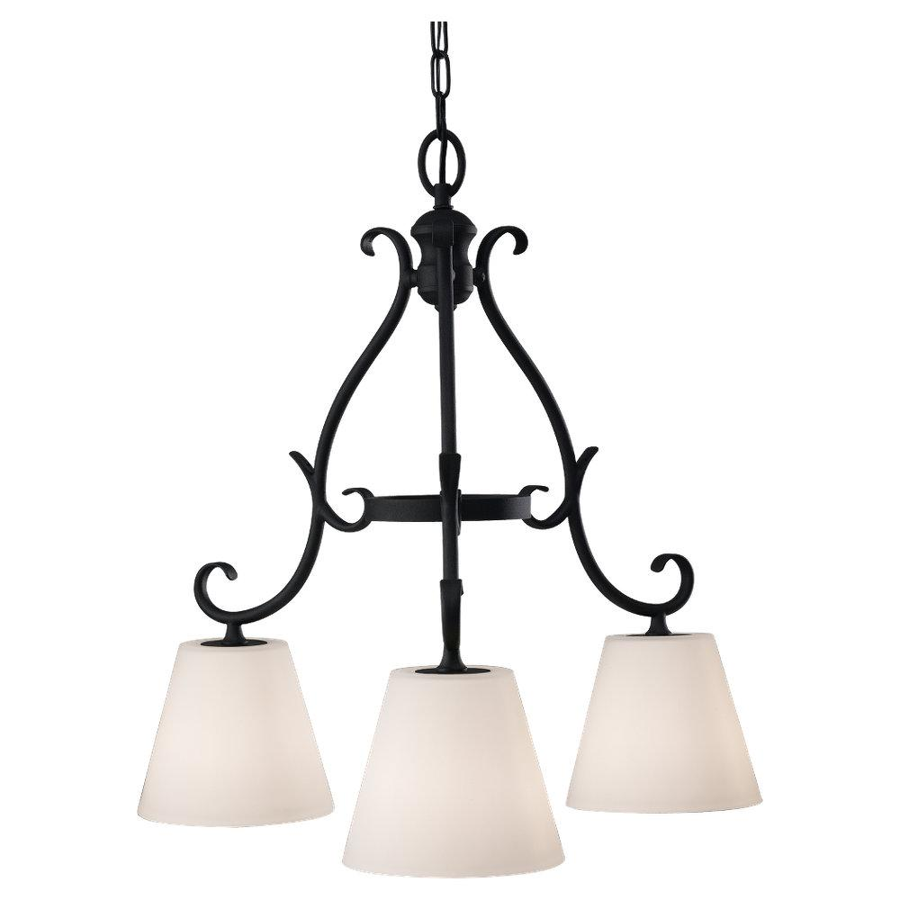 Three Light Black White Opal Etch Glass Down Chandelier