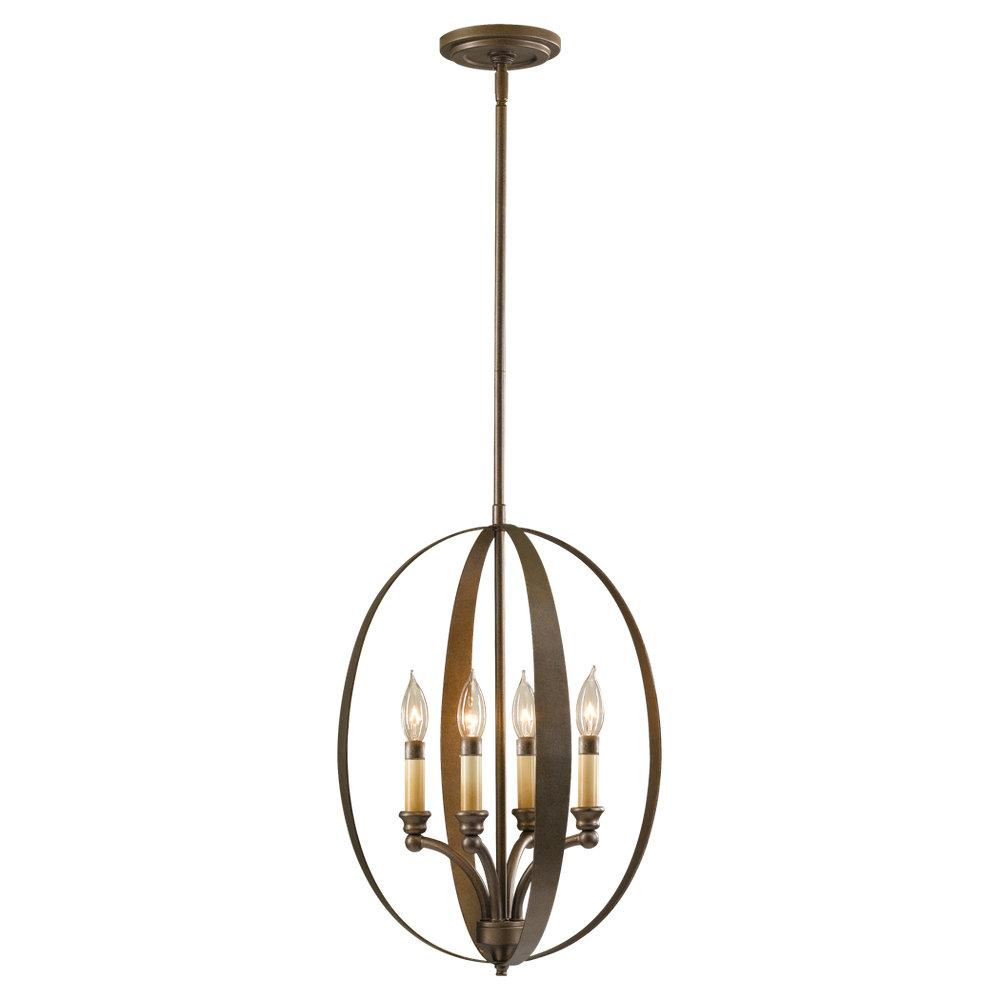 Granite City Electric in Plymouth, Massachusetts, United States, Feiss F2539/4CB, Four Light Corinthian Bronze Open Frame Foyer Hall Fixture, Kinsey