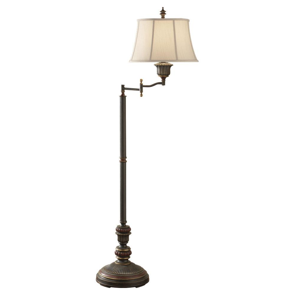 One Light Biscuit Shantung Fabric Shade Ebony/rubbed Wood Floor Lamp