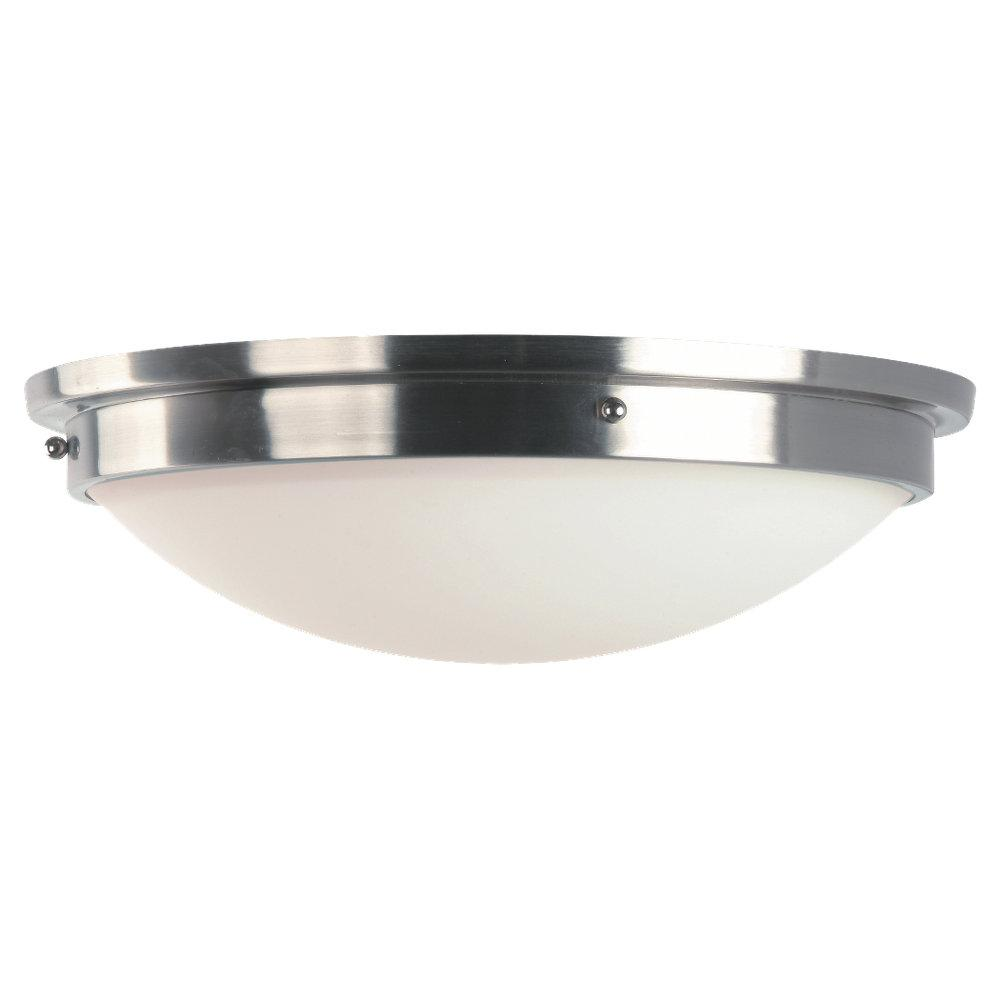 Two Light Opal White Etched Glass Brushed Steel/polished Nickel Bowl Flush Mount
