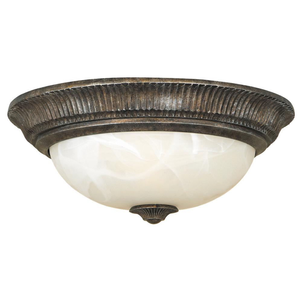 Granite City Electric in Plymouth, Massachusetts, United States, Feiss FM240PBR, Two Light Peruvian Bronze Antique Alabaster Glass Bowl Flush Mount, Seville