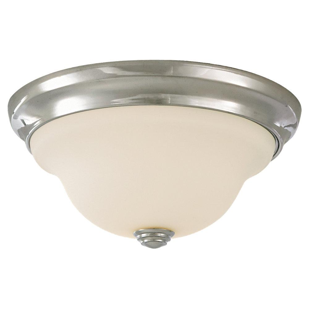 One Light Chrome White Opal Etched Glass Bowl Flush Mount