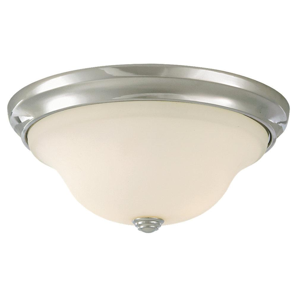Two Light Chrome White Opal Etched Glass Bowl Flush Mount