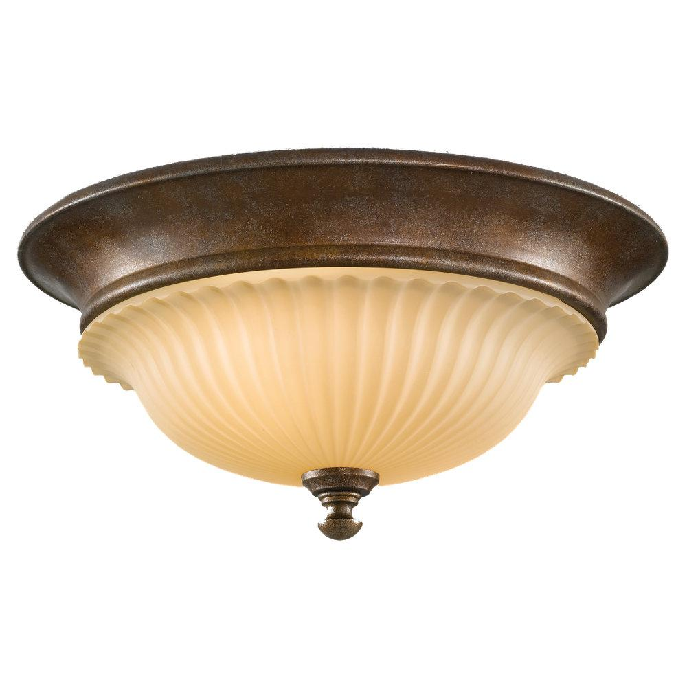 Granite City Electric in Plymouth, Massachusetts, United States, Feiss FM277BRB, Two Light British Bronze Dark Cream Scavo Glass Bowl Flush Mount, Somerset