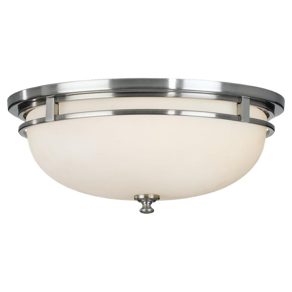 Two Light Brushed Steel White Opal Etch Glass Bowl Flush Mount