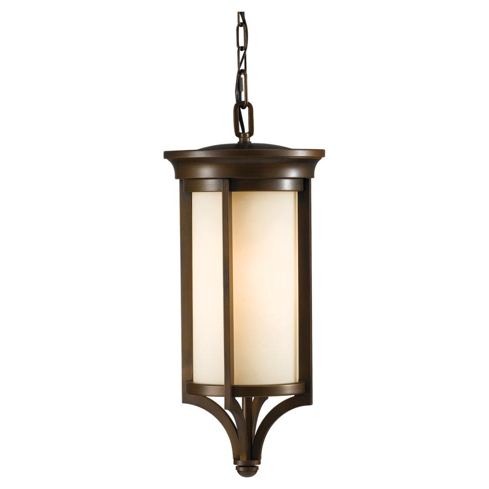 One Light Heritage Bronze Cream Etch Glass Hanging Lantern