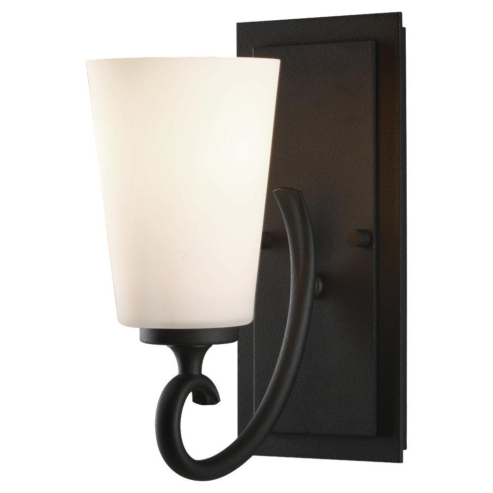 One Light Black White Opal Etch Glass Bathroom Sconce