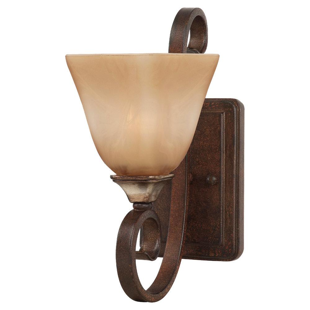 One Light Mediterranean Crackle Flax Colored Glass Wall Light