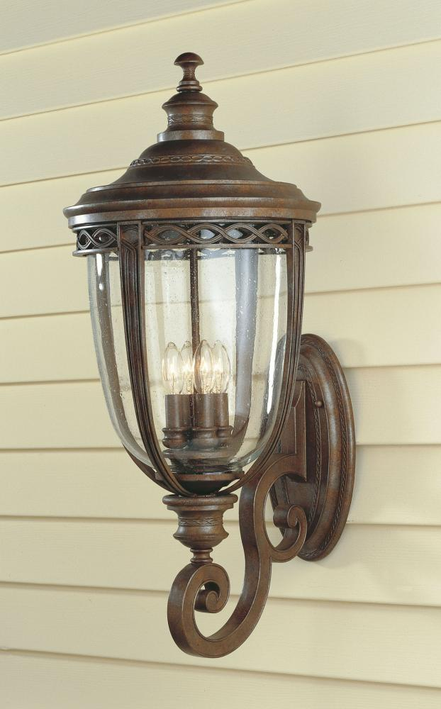 Four Light British Bronze Clear Seeded Glass Wall Lantern