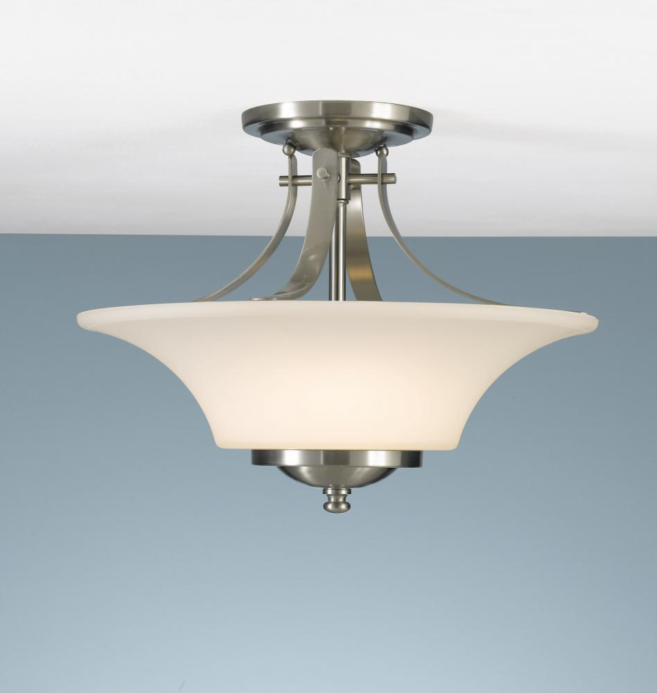 Granite City Electric in Plymouth, Massachusetts, United States, Feiss SF241BS, Two Light Brushed Steel Dark Cream Scavo Glass Bowl Semi-Flush Mount, Barrington