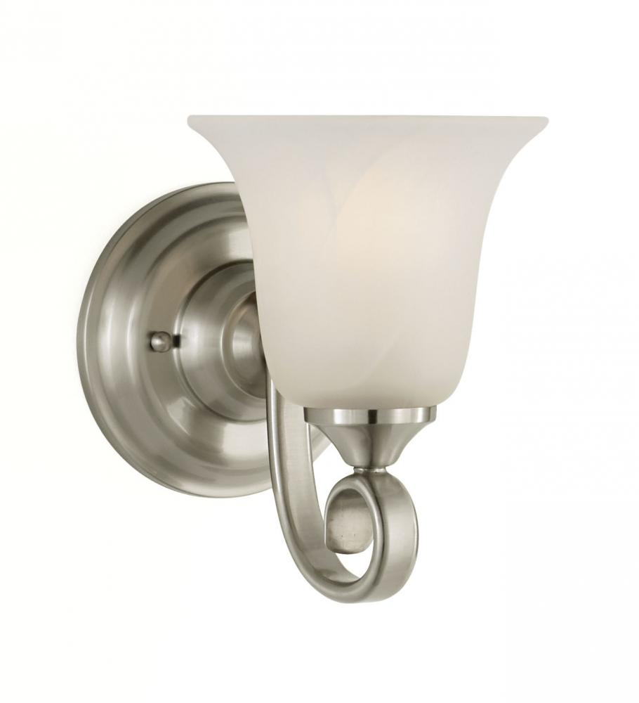 Granite City Electric in Plymouth, Massachusetts, United States, Feiss VS10401-BS, One Light Brushed Steel White Alabaster Glass Bathroom Sconce, Vista