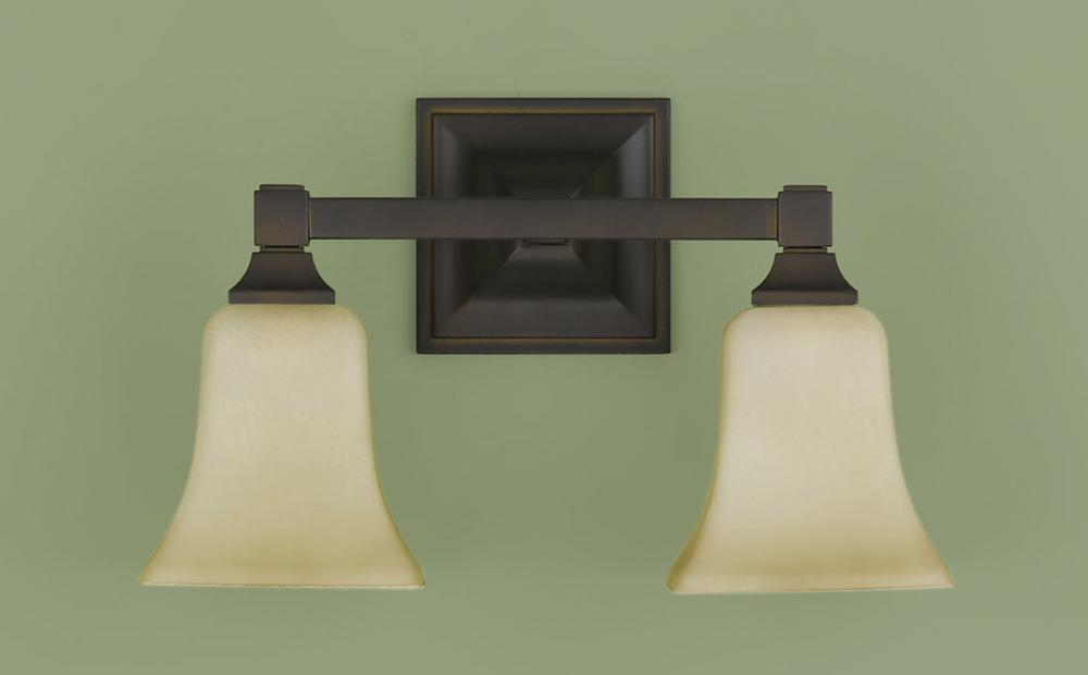 Two Light Oil Rubbed Bronze Excavation Glass Vanity