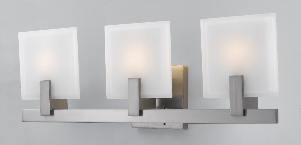 Three Light Brushed Steel White Opal Etched Glass Vanity