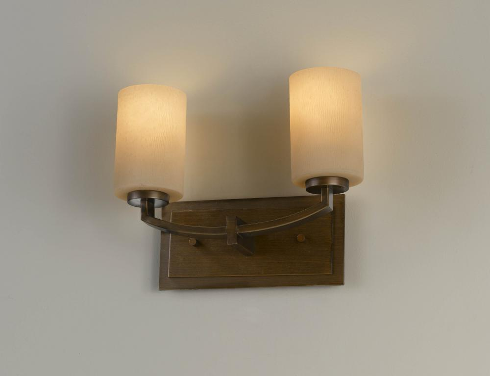 Two Light Heritage Bronze Bark Texture/w Amber Etch Glass Vanity
