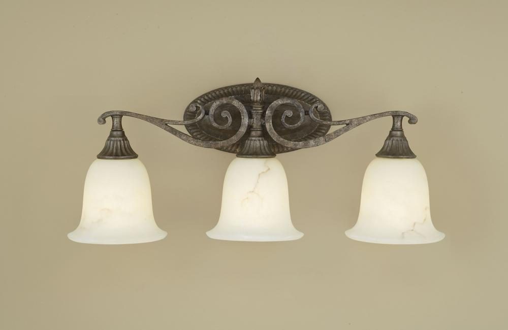Three Light Peruvian Bronze Antique Alabaster Glass Vanity