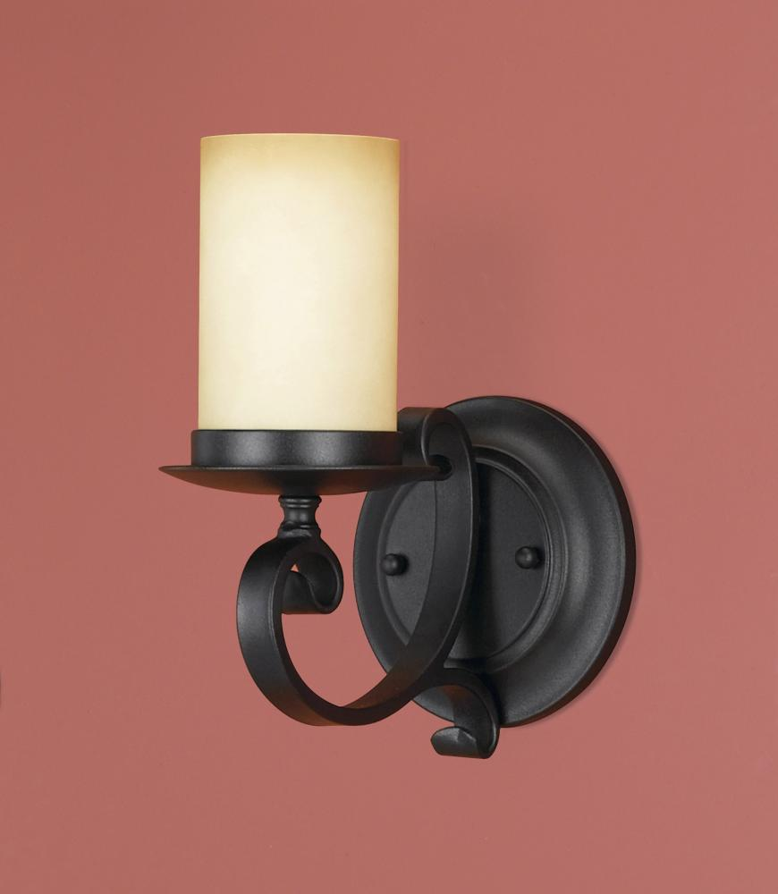 Granite City Electric in Plymouth, Massachusetts, United States, Feiss WB1310BK, One Light Black Antique Cream Scavo Glass Wall Light, Colonial Manor