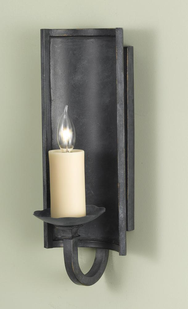 One Light Antique Forged Iron Translucent Resin Candles Shade Wall Light