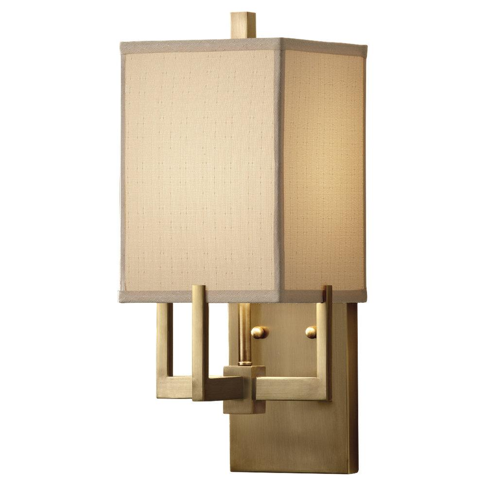 One Light Dark Coffee Bronze Beige Linen Shade Wall Light