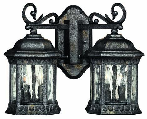 Four Light Black Granite Wall Lantern