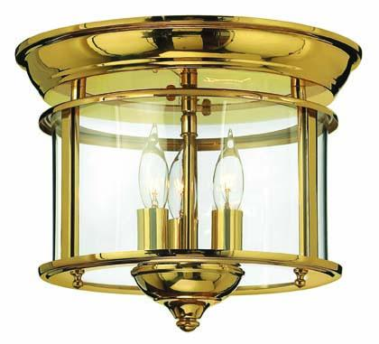 Three Light Polished Brass Drum Shade Flush Mount