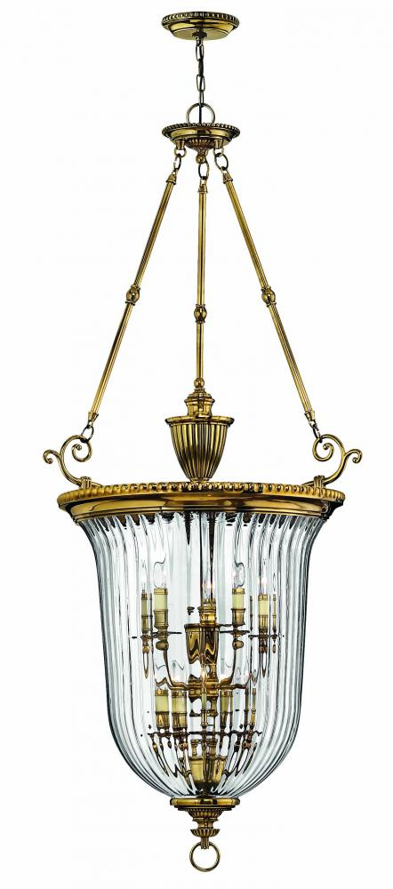 Ten Light Brass Foyer Hall Pendant